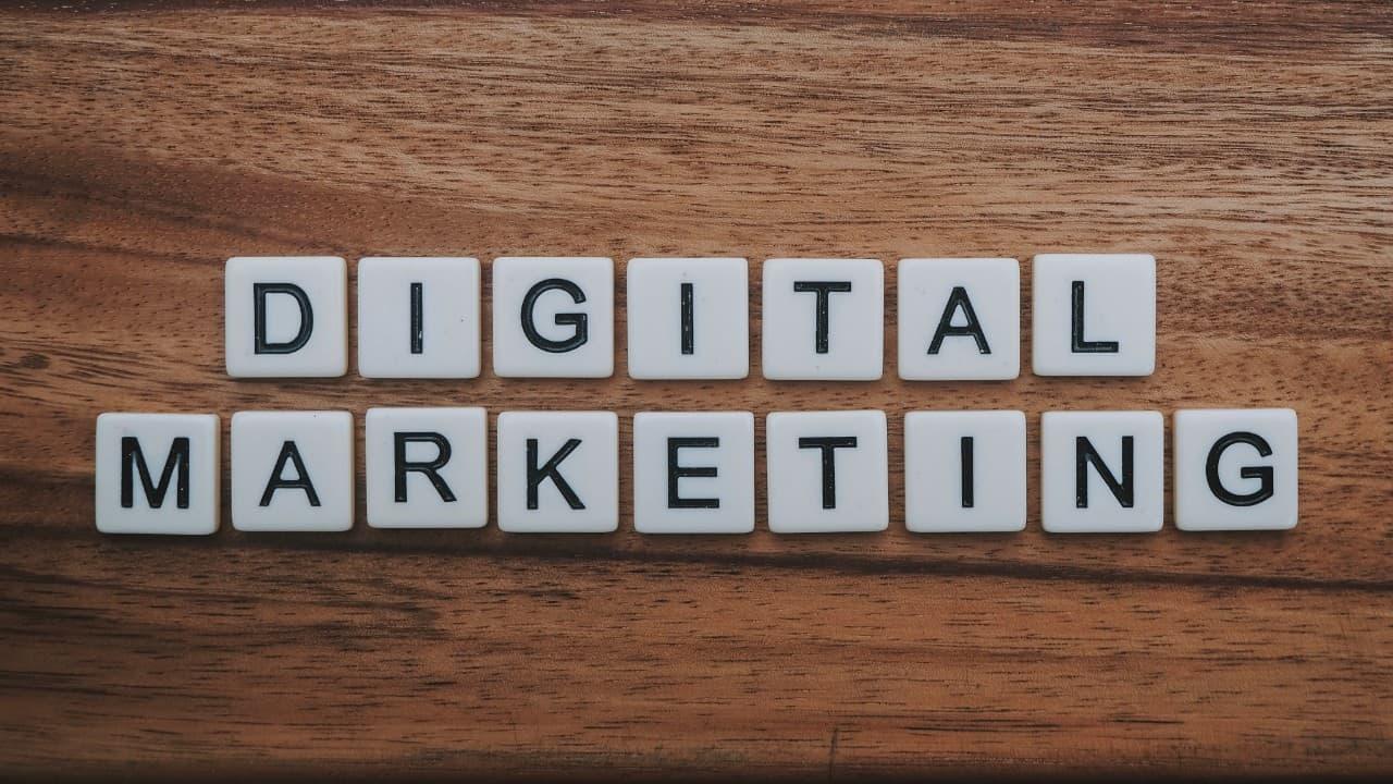 digital marketing spelled out in letter tiles