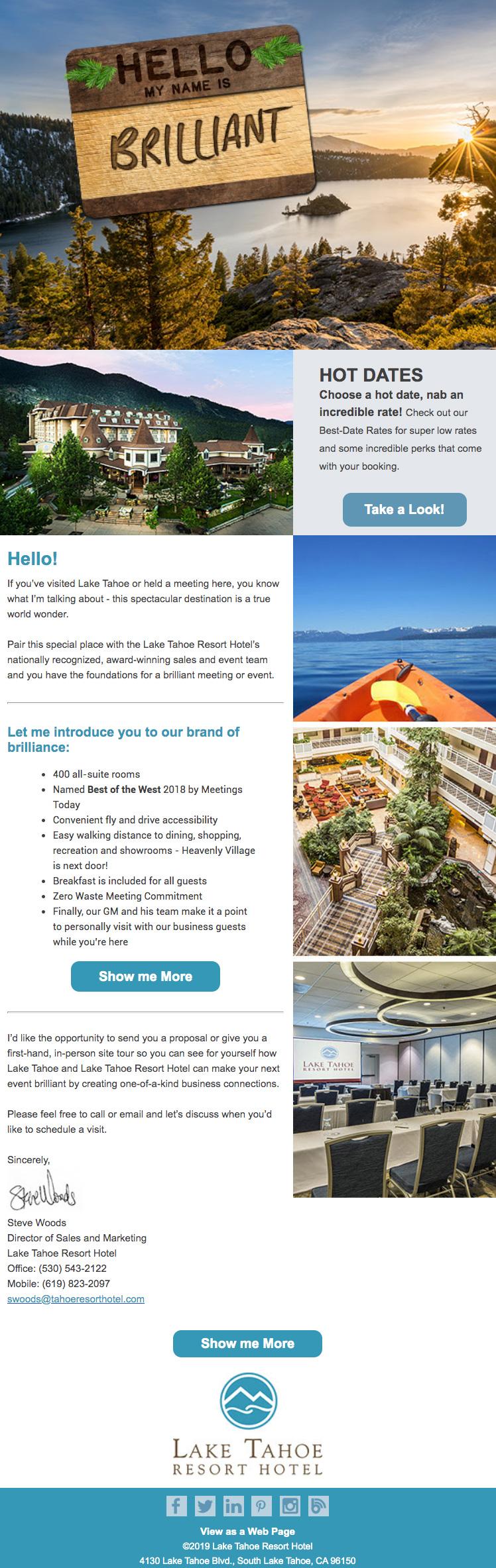 Tahoe Meeting Planner email marketing