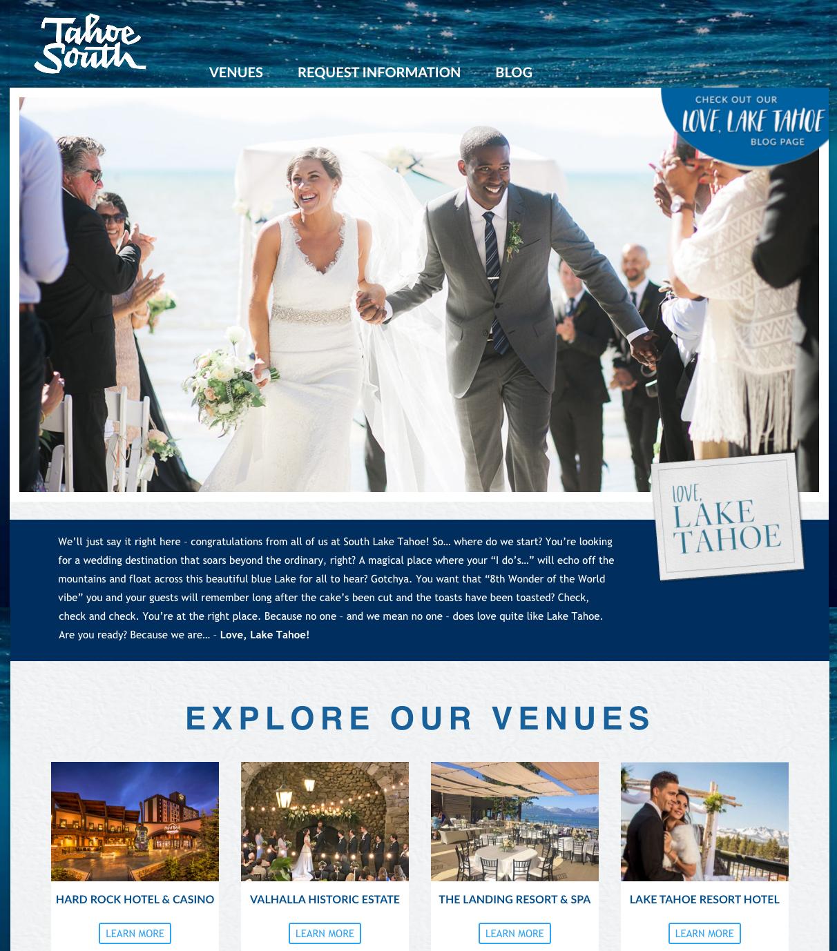 Redesign of Tahoe Wedding website