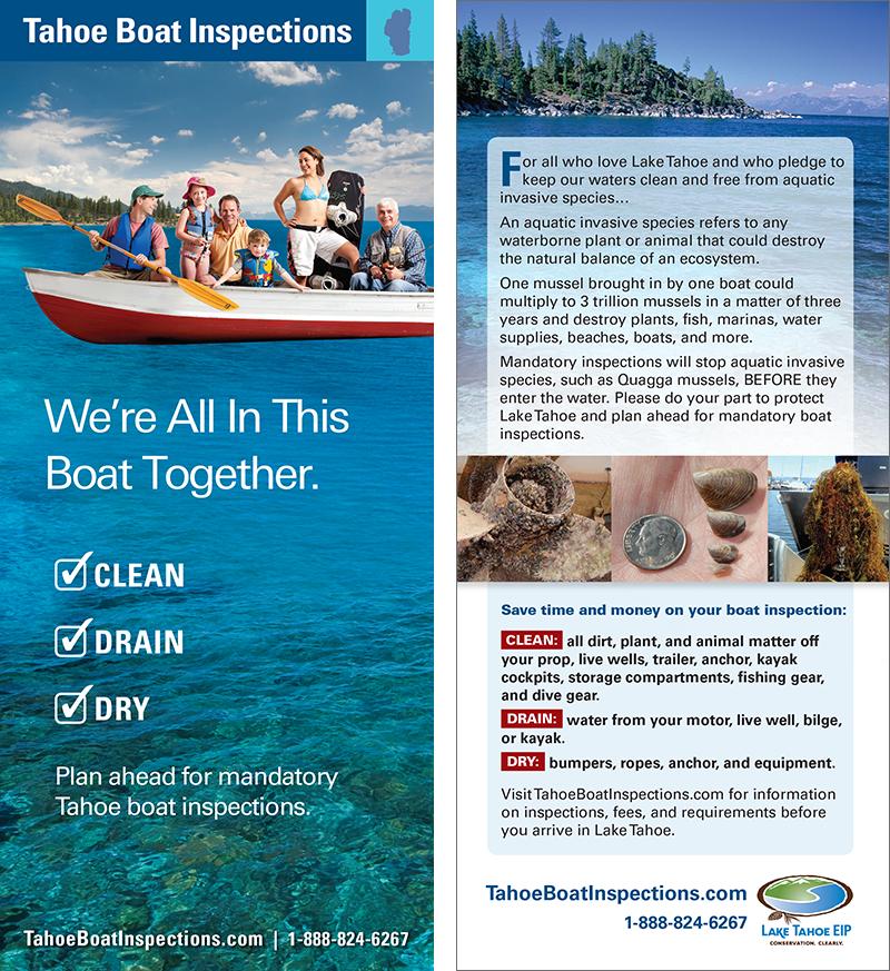 Lake Tahoe Boat Inspection Rack Card