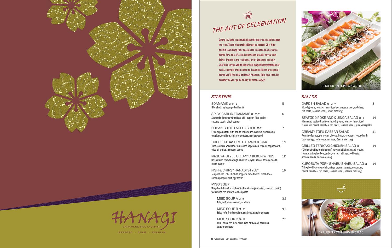 Hanagi restaurant menu design